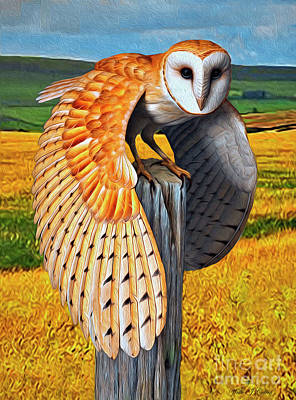 Digital Art - Barn Owl On Old Fence Post by Walter Colvin