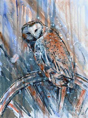 Painting - Barn Owl On The Old Wagon Wheel  by Zaira Dzhaubaeva