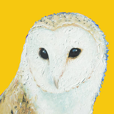 Childrens Room Painting - Barn Owl On Yellow Background For The Nursery by Jan Matson