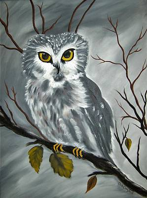 Painting - Barn Owl Ready For The Hunt by Debra Campbell