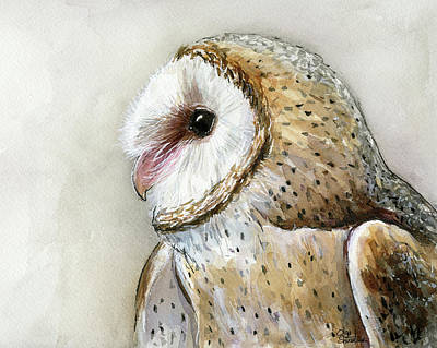 Nocturnal Painting - Barn Owl Watercolor by Olga Shvartsur