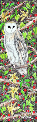 Painting - Barn Owl With Lattice Work Of Branches by Lise Winne