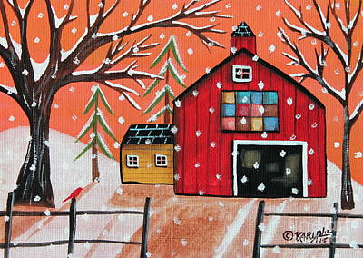 Winter Scene Painting - Barn Quilt by Karla Gerard