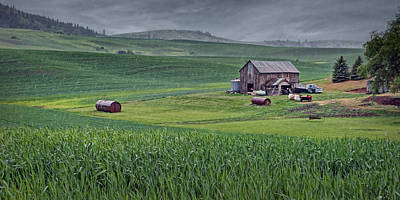 Photograph - Barn - Rainy Day - Palouse by Nikolyn McDonald