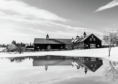 Photograph - Barn Reflection Black And White by Tim Kirchoff