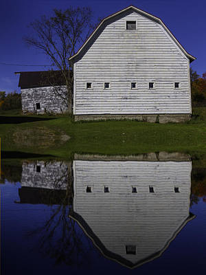 White Barn Photograph - Barn Reflection by Garry Gay