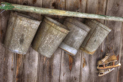 Barn Scenes - Old Skates And Sap Cans Art Print by Joann Vitali
