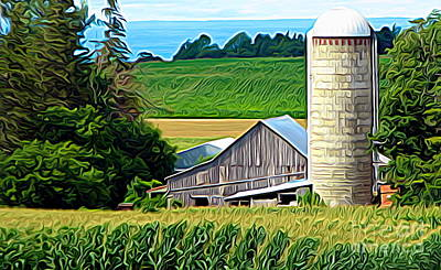 Photograph - Barn Silo And Crops In Nys Expressionistic Effect by Rose Santuci-Sofranko