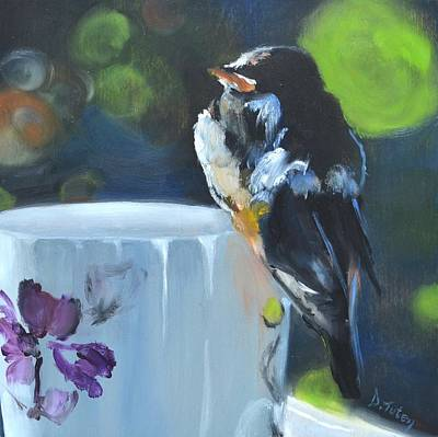 Painting - Barn Swallow On Teacup Oil Painting by Donna Tuten