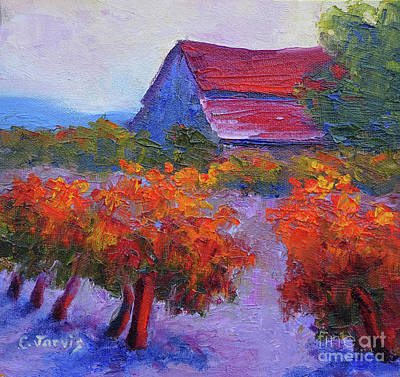 Painting - Barn Vineyard Autumn by Carolyn Jarvis