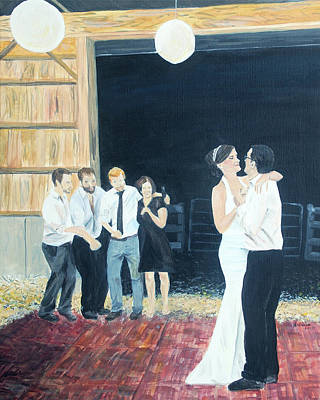Wedding Painting - Barn Wedding - First Dance by Arlissa Vaughn