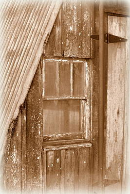 Photograph - Barn Window - Sepia by Beth Vincent