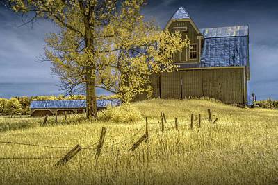 Photograph - Barn With Barb Wire Fence In Infrared by Randall Nyhof