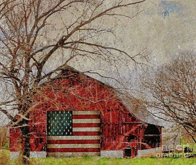 Photograph - Barn With Flag In Winter by Janette Boyd