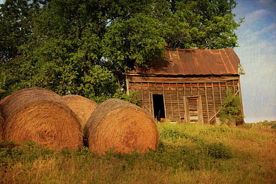 Photograph - Barn With Haybales by Katherine Worley