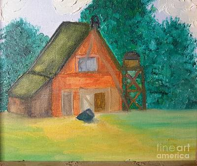 Water Tower Place Painting - Barn With Water Tower by Cindy  Riley