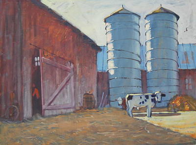Holstien Painting - Barn Yard Boss by Len Stomski