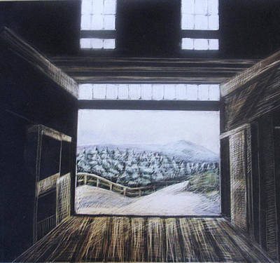 Drawing - Barndoor View by Grace Keown