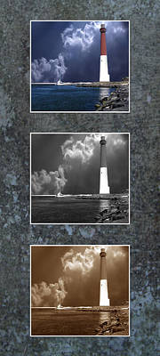 Barnegat Inlet Lighthouse Nj Trio Art Print by Skip Willits