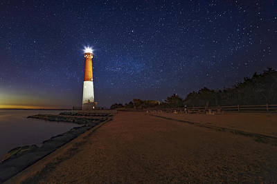 Barnegat Lighthouse Under The Stars Art Print by Susan Candelario