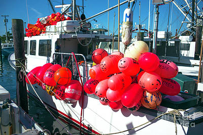 Art Print featuring the photograph Barnegat Red Buoys by John Rizzuto