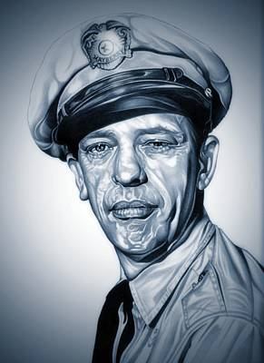 Don Knotts Drawing - Barney Fife by Fred Larucci