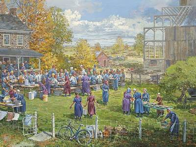 Barnraising Lunch Art Print by Peter Etril Snyder