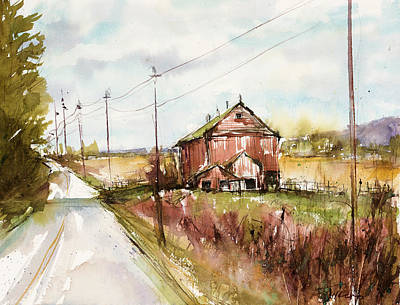 Painting - Barns And Electric Poles, Sunday Drive by Judith Levins