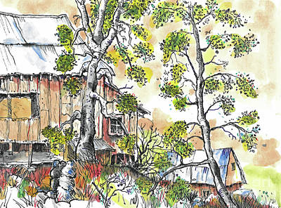 Painting - Barns And Trees 1 by Terry Banderas