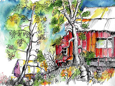Painting - Barns And Trees 2 by Terry Banderas