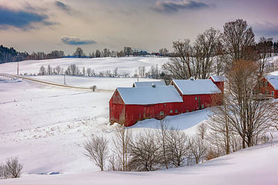 Photograph - Barns At Jenne Farm In Winter by Rick Berk