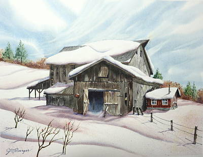 Drifting Snow Painting - Barns In Snow by Joseph Burger