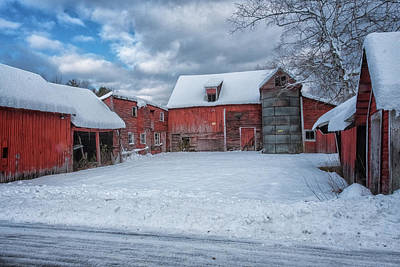Photograph - Barns In Winter II by Tom Singleton