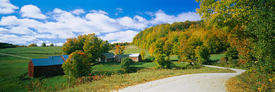 Autumn Scenes Photograph - Barns Near A Road, Jenny Farm, Vermont by Panoramic Images