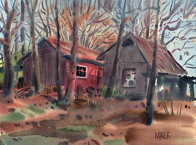 Barn Landscape Painting - Barns Next Door by Donald Maier