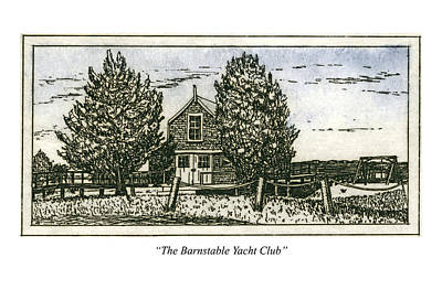 Mixed Media - Barnstable Yacht Club Greeting Card by Charles Harden