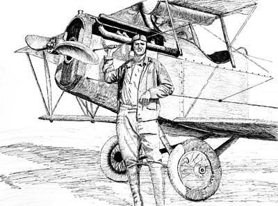 Barnstormer Drawing - Barnstormer With Curtiss Jenny by Ron Enderland