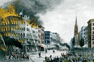 Barnums Museum Fire, 1865 Art Print by Science Source