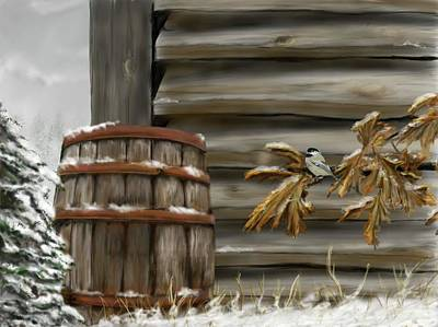 Digital Art - Barnyard Barrel And Chickadee by Darren Cannell