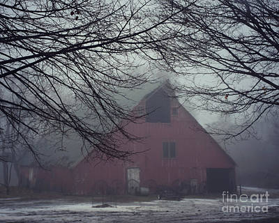 Photograph - Barnyard Blanketed By Fog by Kathy M Krause