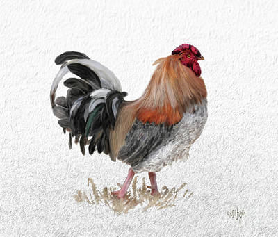 Rooster Wall Art - Digital Art - Barnyard Boss by Lois Bryan