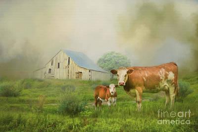 Digital Art - Barnyard Cows by Lena Auxier