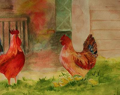 Painting - Barnyard Cuties by Julie Lueders