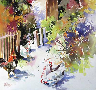 Painting - Barnyard Gathering by Rae Andrews