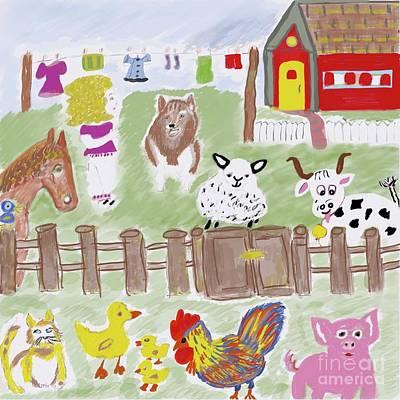 Barnyard Menagerie Illustration  Art Print by Susan Garren