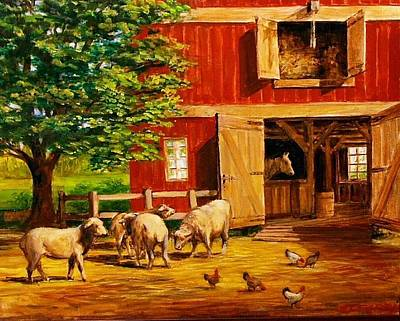 Painting - Barnyard  by Perrys Fine Art