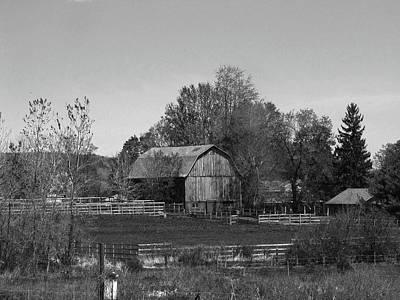 Still Life Photograph - Barnyard Upstate New York - Black And White by Helaine Cummins