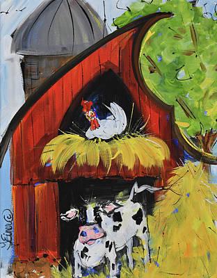 Painting - Barnyard Whimsy by Terri Einer