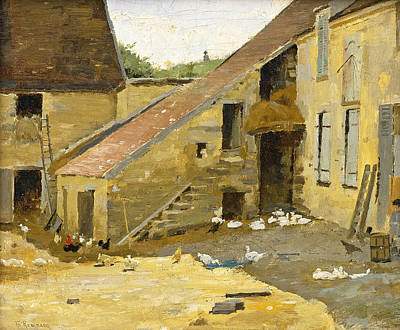 Painting - Barnyard With Ducks by Theodore Robinson