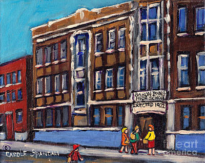 Baron Byng High School Painting - Baron Byng High School Rue St Urbain Montreal Memories Class Of 65 Canadian Art Carole Spandau       by Carole Spandau